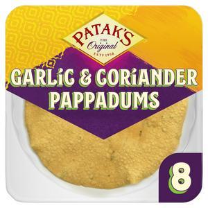 Patak's Garlic & Coriander Poppadoms x8
