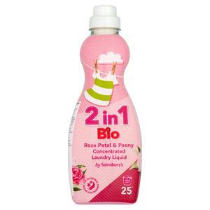 Sainsbury's 2 in 1 Bio Rose Petal & Peony Concentrated Laundry Liquid 750ml