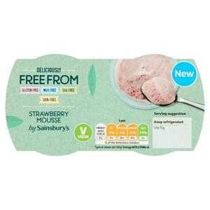 Sainsbury's Deliciously Free From Strawberry Mousse 2x70g (140g)