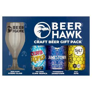 Beer Hawk Craft Beer Gift Pack 3 Craft Beers & Tasting Glass
