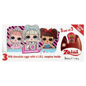 Milk Chocolate Eggs with a L.O.L. Surprise Inside 3 x 20g (60g)