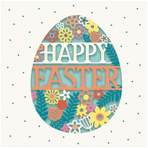 Laser Cut Happy Easter Egg Card