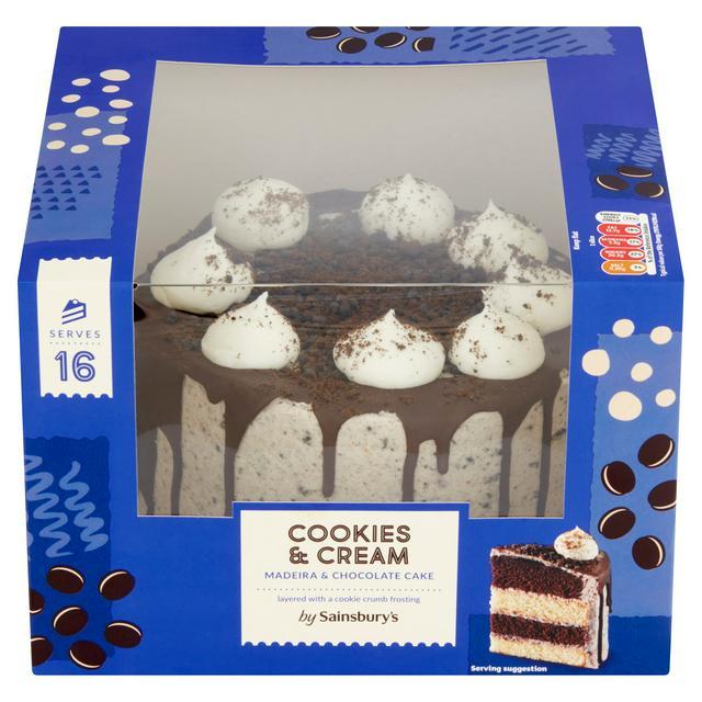 Fantastic Sainsburys Cookies Cream Madeira Chocolate Cake 1 07Kg Funny Birthday Cards Online Hendilapandamsfinfo