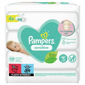 Pampers Sensitive Baby Wipes 4x52 Pack