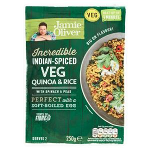 Jamie Oliver Incredible Indian-Spiced Veg Quinoa & Rice with Spinach & Peas 250g