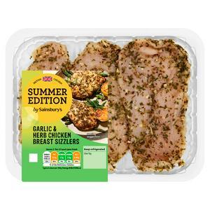 Sainsbury's Garlic & Herb British Chicken Breast Sizzlers Summer Edition 316g