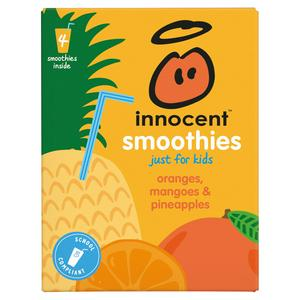 Innocent Kids Smoothies, Oranges, Mangoes & Pineapples 4x150ml