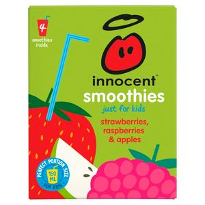 Innocent Kids Smoothies, Strawberries, Raspberries & Apples 4x150ml
