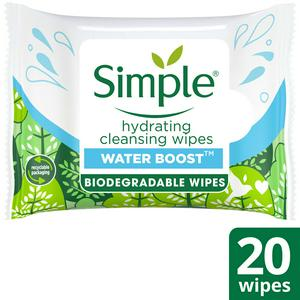 Simple Hydrating Biodegradable Cleansing Wipes x20