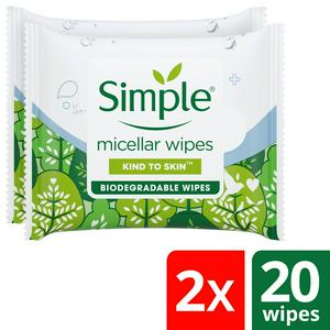 Simple Kind to Skin Micellar Biodegradable Cleansing Wipes x2 20 wipes