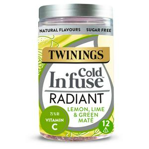 Twinings Cold In'fuse Radiant with Lemon, Lime & Vitamin C, 12 Infusers