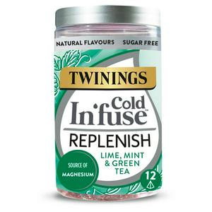Twinings Cold In'fuse Replenish with Lime, Mint & Magnesium, 12 Infusers