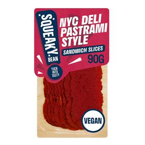 Squeaky Bean Vegan Pastrami Style Sandwich Slices Ready To Eat 90g