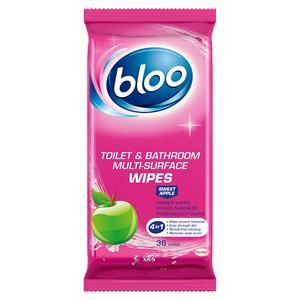 Bloo Sweet Apple Toilet & Bathroom Multi-Surface Wipes x36