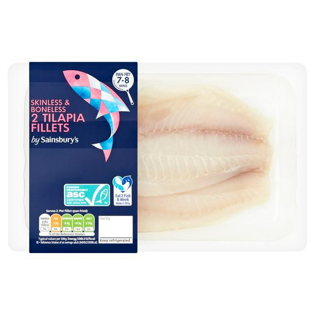 Sainsbury S Skinless Boneless Tilapia Fillets X2 250g Sainsbury S