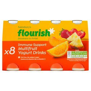 Sainsbury's Immune Support Multifruit Yogurt Drinks x8 100g
