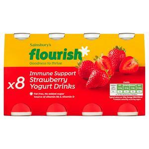 Sainsbury's Immune Support Strawberry Yogurt Drinks x8 100g