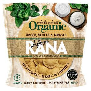 La Famiglia Rana Organic Spinach, Ricotta & Burrata Whole Wheat Fresh Ravioli 250g