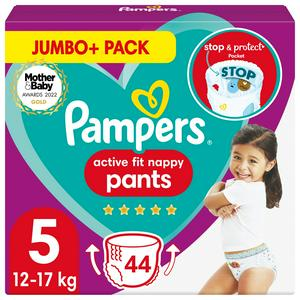 Pampers Active Fit Nappy Pants Size 5 Jumbo+ Pack, 12kg-17kg 44 Nappies