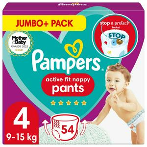 Pampers Active Fit Nappy Pants Size 4 Jumbo+ Pack, 9kg-15kg 54 Nappies