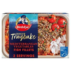 Birds Eye Crunchy Traybake Mediterranean Vegetables with Grains & Seeded Crumb Fish Fillets 380g