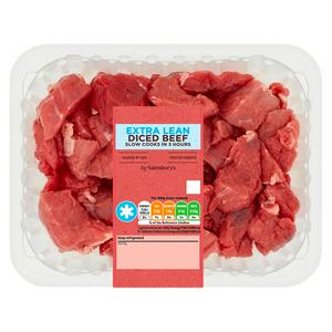Sainsbury's Extra Lean Diced Beef 500g