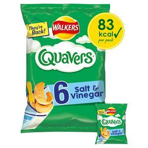 Walkers Quavers Salt & Vinegar Multipack Snacks x6 16g