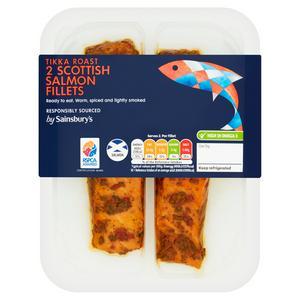 Sainsbury's Ready to Eat Roast Scottish Salmon Fillets with Tikka Seasoning x2 180g