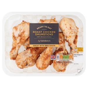 Sainsbury's Roast British Cooked Chicken Drumsticks 430g
