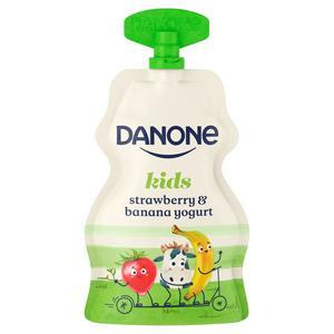 Danone Kids Organic Strawberry & Banana No Added Sugar Yogurt 70g