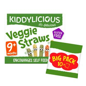 Kiddylicious Veggie Straws, Baby Snack, 9 Months+, Mutlipack, 10x12g
