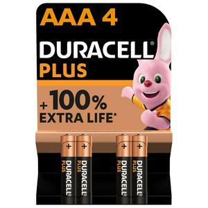 Duracell Plus AAA Alkaline Batteries, LR03 - Pack of 4