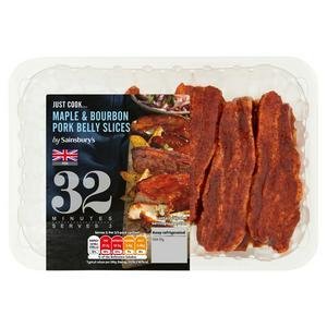 Sainsbury's British Fresh Maple & Bourbon Pork Belly Slices 400g